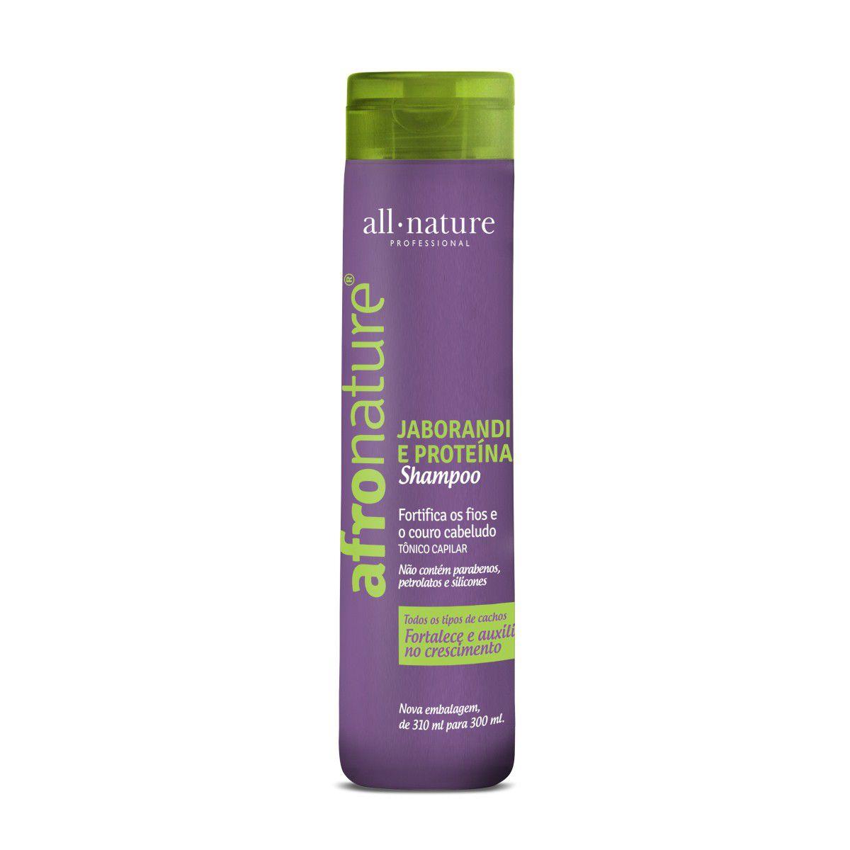 Shampoo de Jaborandi e Proteínas e Condicionador Afro Nature, Combate a Queda e Melhora o Crescimento All Nature - 3 Unidades