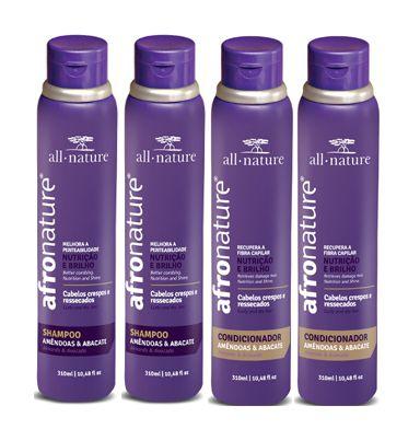 Shampoo e Condicionador Amêndoas e Abacate 300ml - All Nature Para Cabelos Secos , Ressecados, Cacheados, Crespos, e Afros - 4 unids a escolher