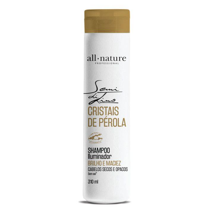 Shampoo Semi Di Lino Iluminador Cristais de Perola All Nature, Para Cabelos Secos e Ressecados