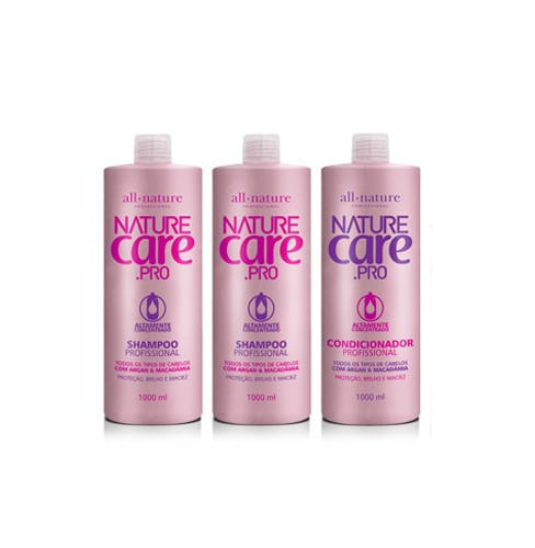 Shampoo Nature Care e Condicionador Com Argan e Macadâmia 1000ml  All Nature 3 unidades (A Escolher)