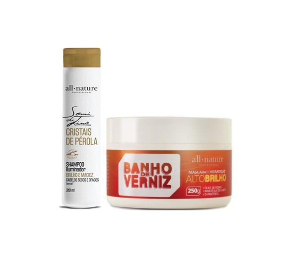 Shampoo Semi Di Lino Cristais de Pérola 310ml e Máscara Banho de Verniz 250g  - All Nature