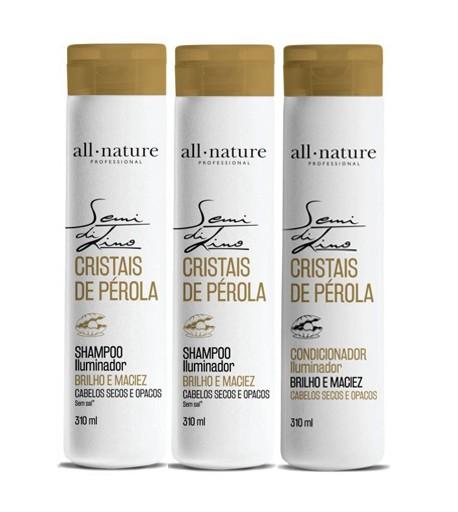 Shampoo Semi Di Lino Para Cabelos Secos e Ressecados e Condicionador Iluminador Cristais de Perola All Nature 3 Unids