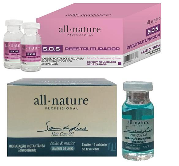 SOS Cabelos Elásticos e Quebradiços + Hair Care Oil Semi Di Lino All Nature - Kit Trata Tudo