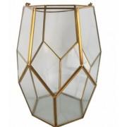 Vaso em Vidro Incolor e Metal (X)