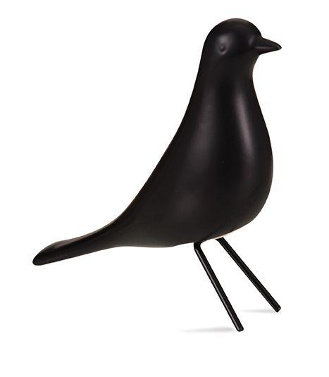 Escultura Pássaro Decorativo Preto P