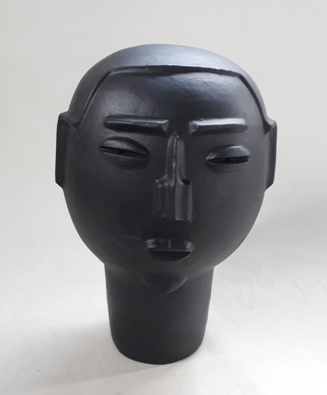 Escultura Preta Cabeça Homem (A)