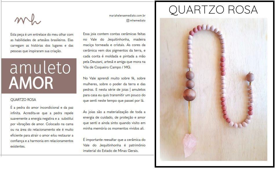 Jóia para Casa Colar Quartzo Rosa - Exclusivo Lider (A)
