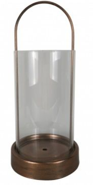 Lanterna Bronze Metal e Vidro