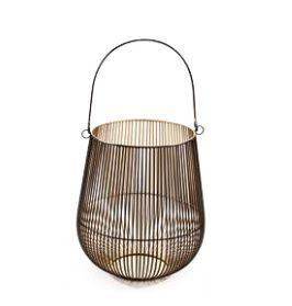 Lanterna M Metal Preto/Dourado