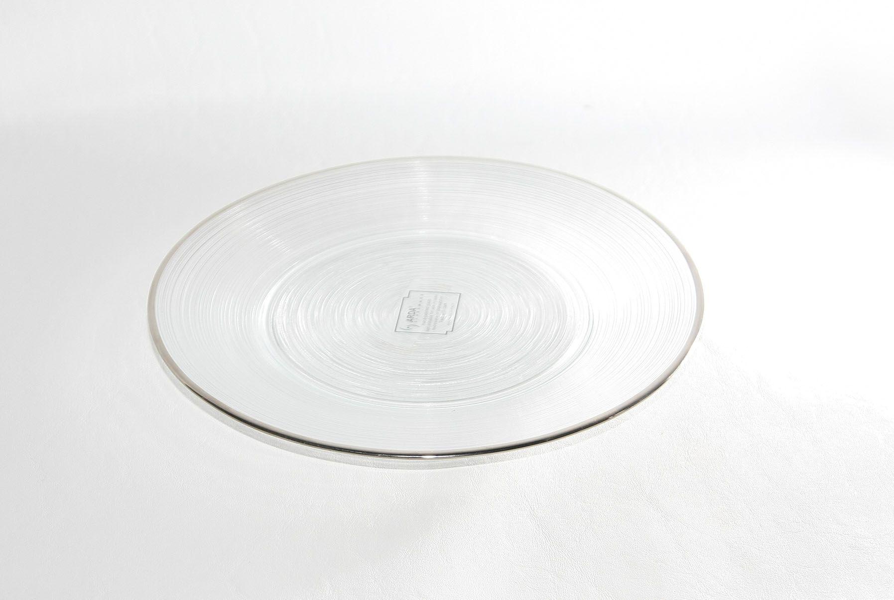 Prato Vidro Incolor Aro Prata