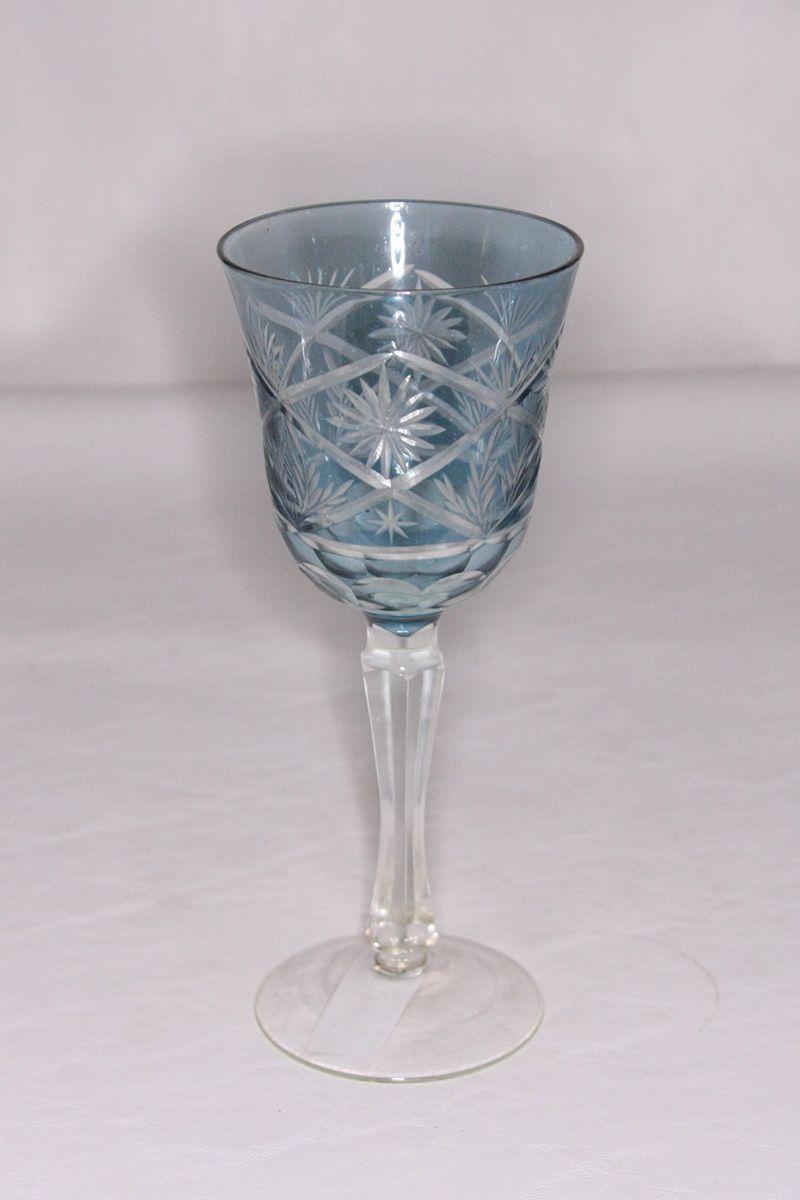 Taça Cristal Lapidado Água 250ml Azul