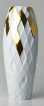 Vaso Arlequim Branco e Dourado (A)