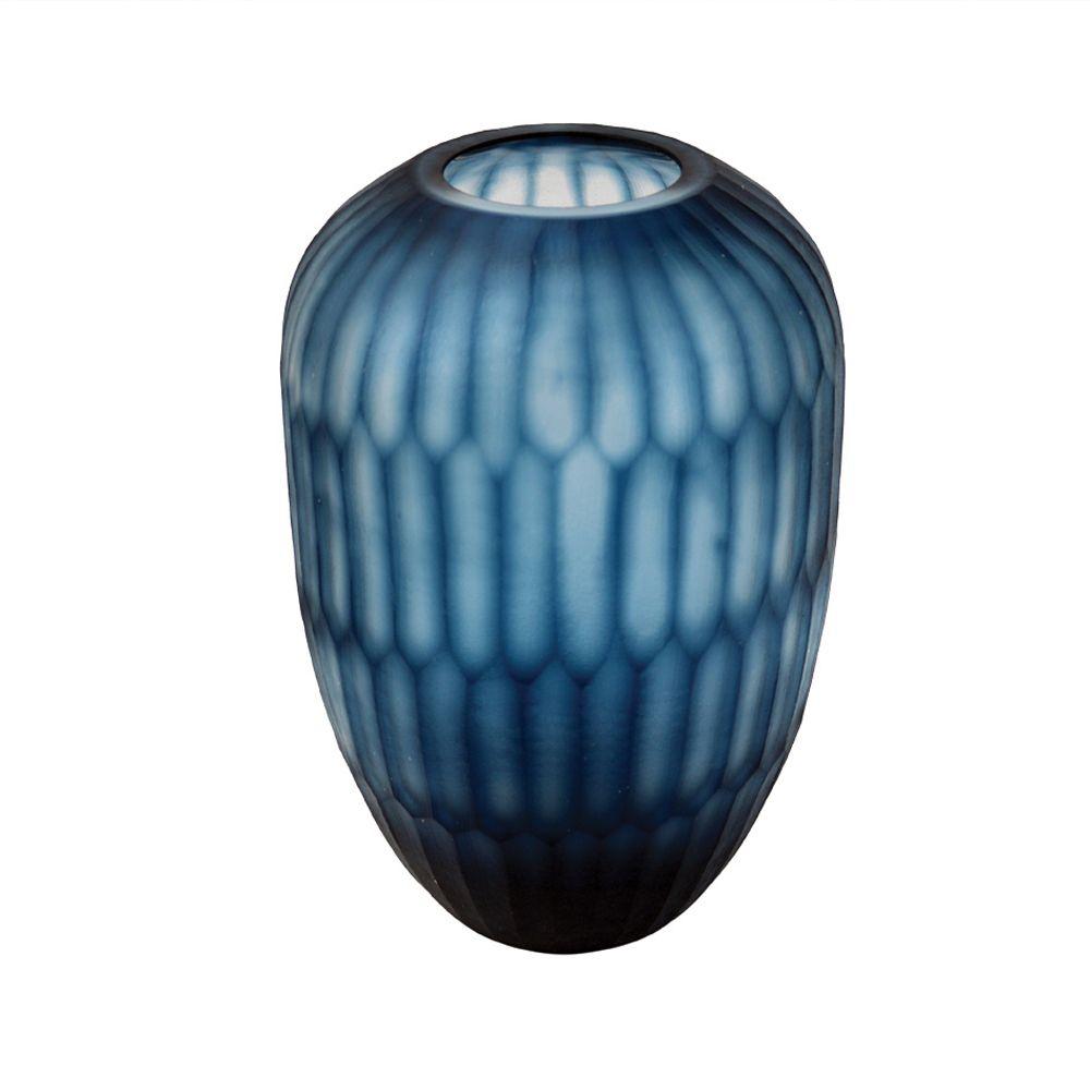 Vaso Baixo Vidro Azul (A)