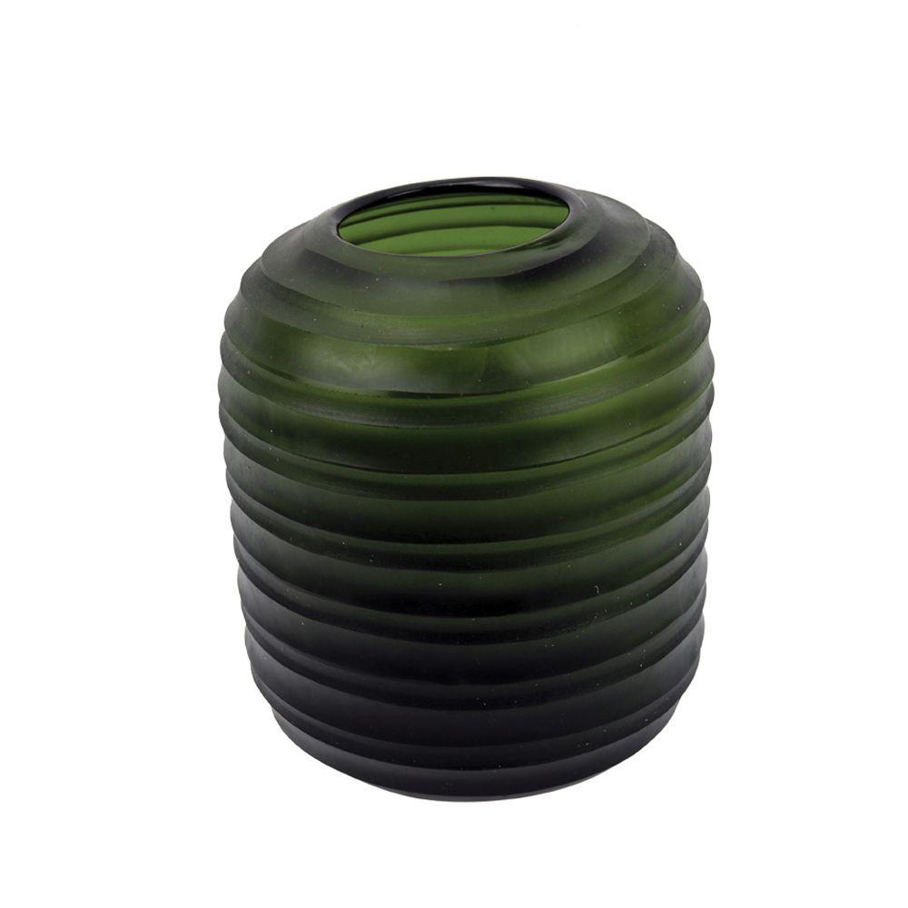 Vaso Baixo Vidro Verde (A)