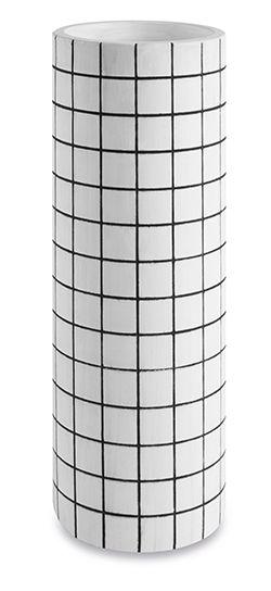 Vaso em Cimento Branco e Preto G