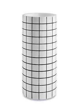 Vaso em Cimento Branco e Preto M
