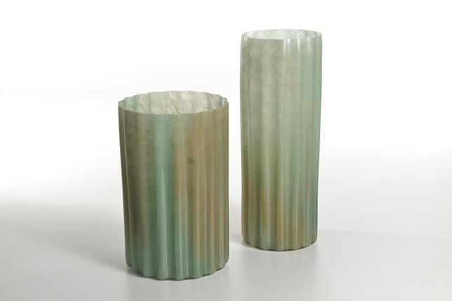 Vaso Vidro Canelado Fino Verde (A)