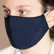 Máscara em Tecido Duplo Azul Marinho, Reutilizável e Lavável 05 Unidades