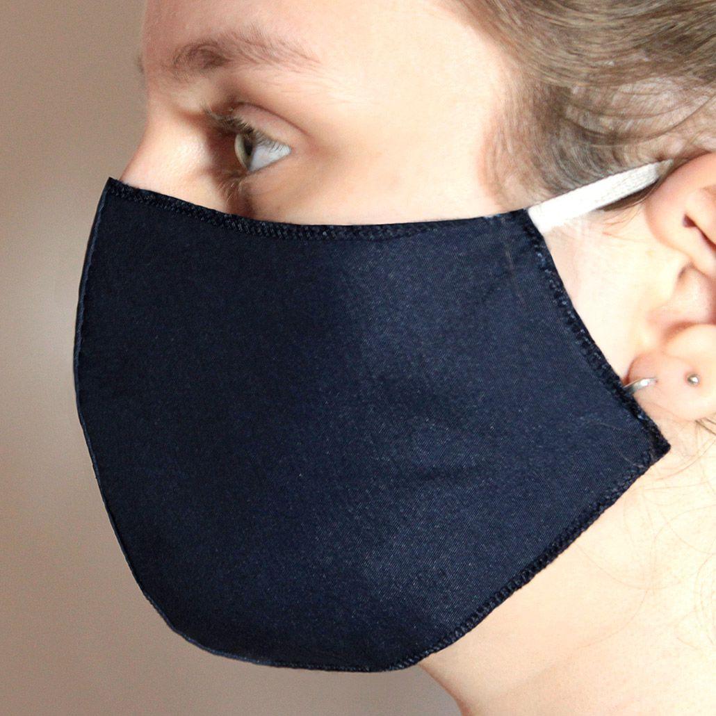 Máscara em Tecido Duplo Azul Marinho, Reutilizável e Lavável 50 Unidades