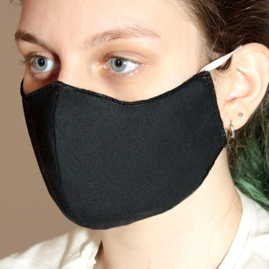 Máscara em Tecido Duplo Preto, Reutilizável e Lavável Unidade