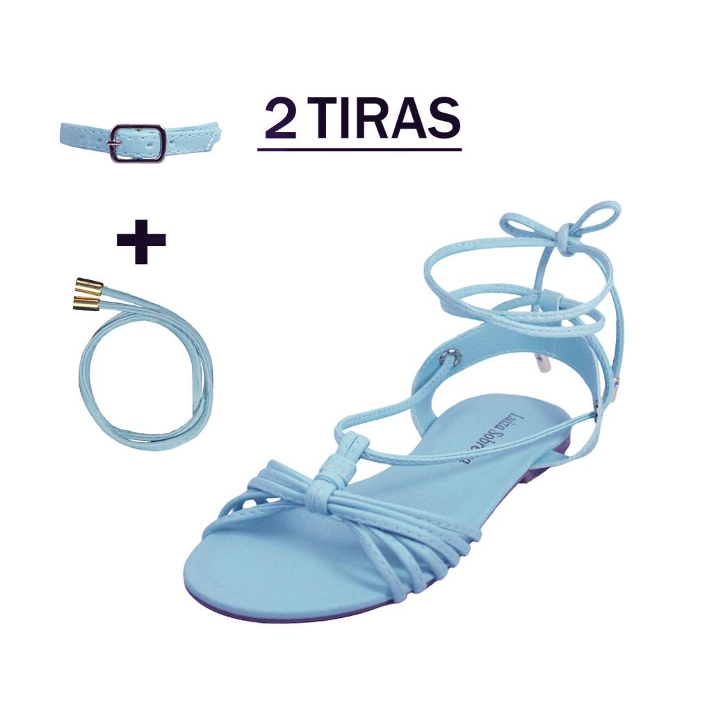 Rasteira Troca Tira Luiza Sobreira Couro Azul Mod. 2041-2