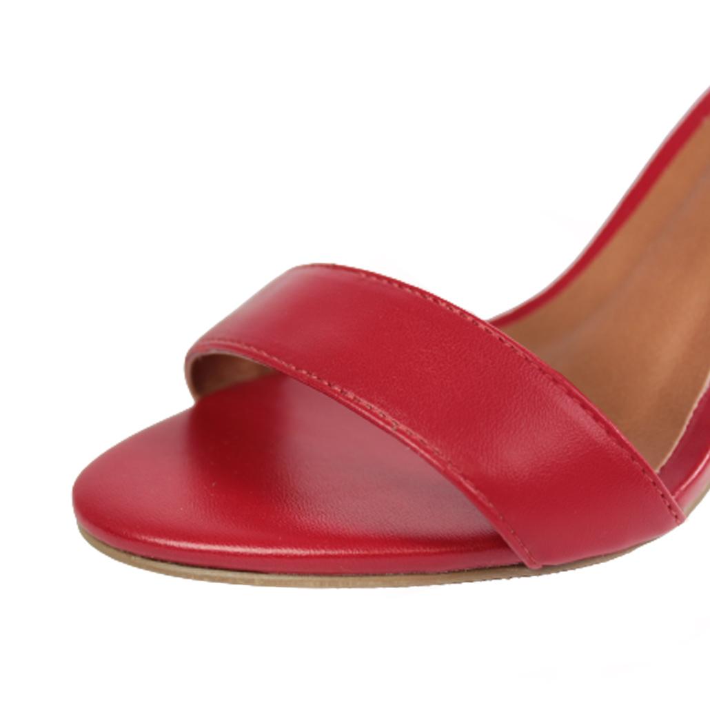 Sandália Salto Alto Fino Luiza Sobreira Couro Vermelho Mod. 2069
