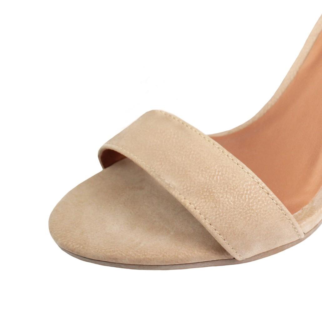 Sandália Salto Alto Fino Luiza Sobreira Nobuck Nude Mod. 1367
