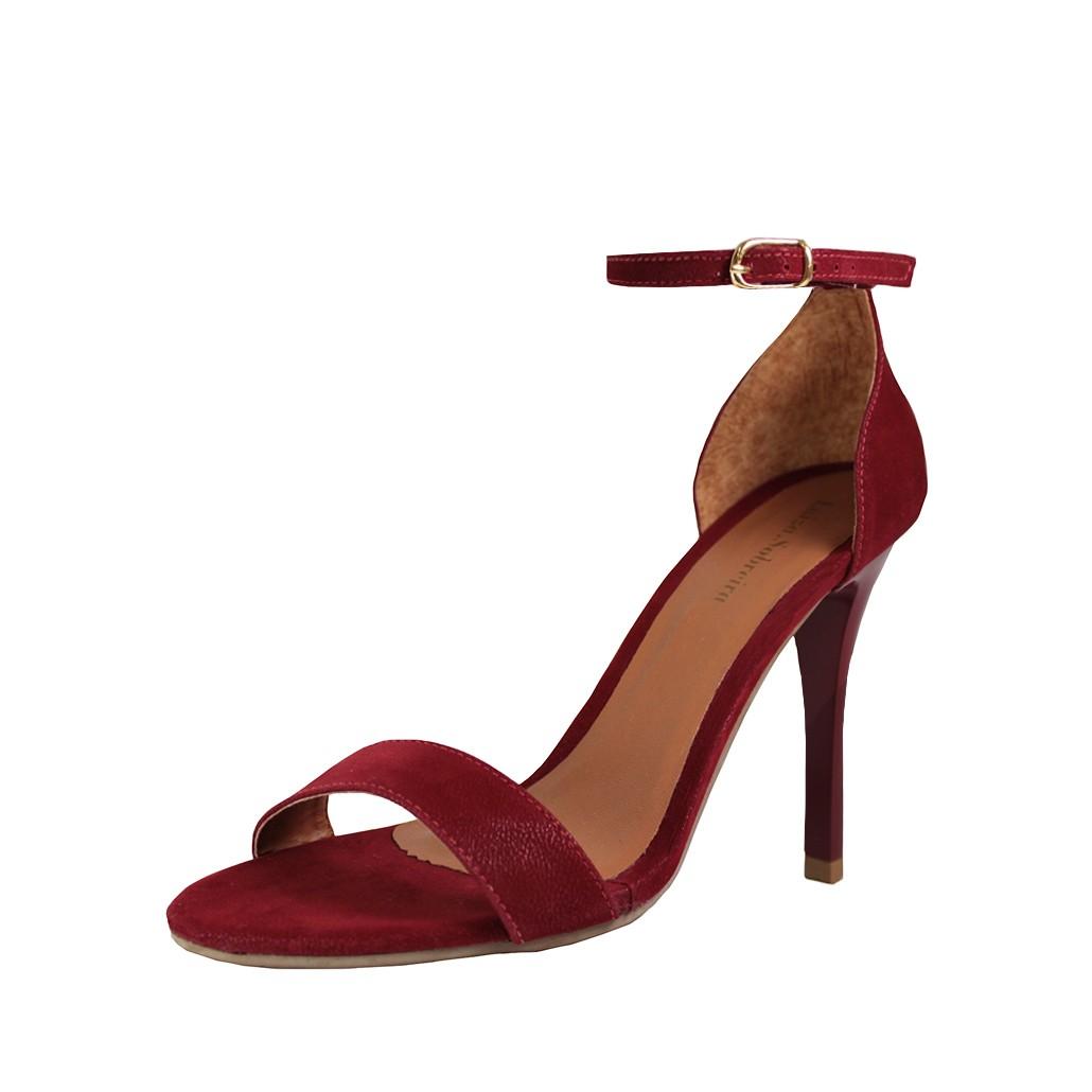 Sandália Salto Alto Fino Luiza Sobreira Nobuck Vermelho Mod. 503