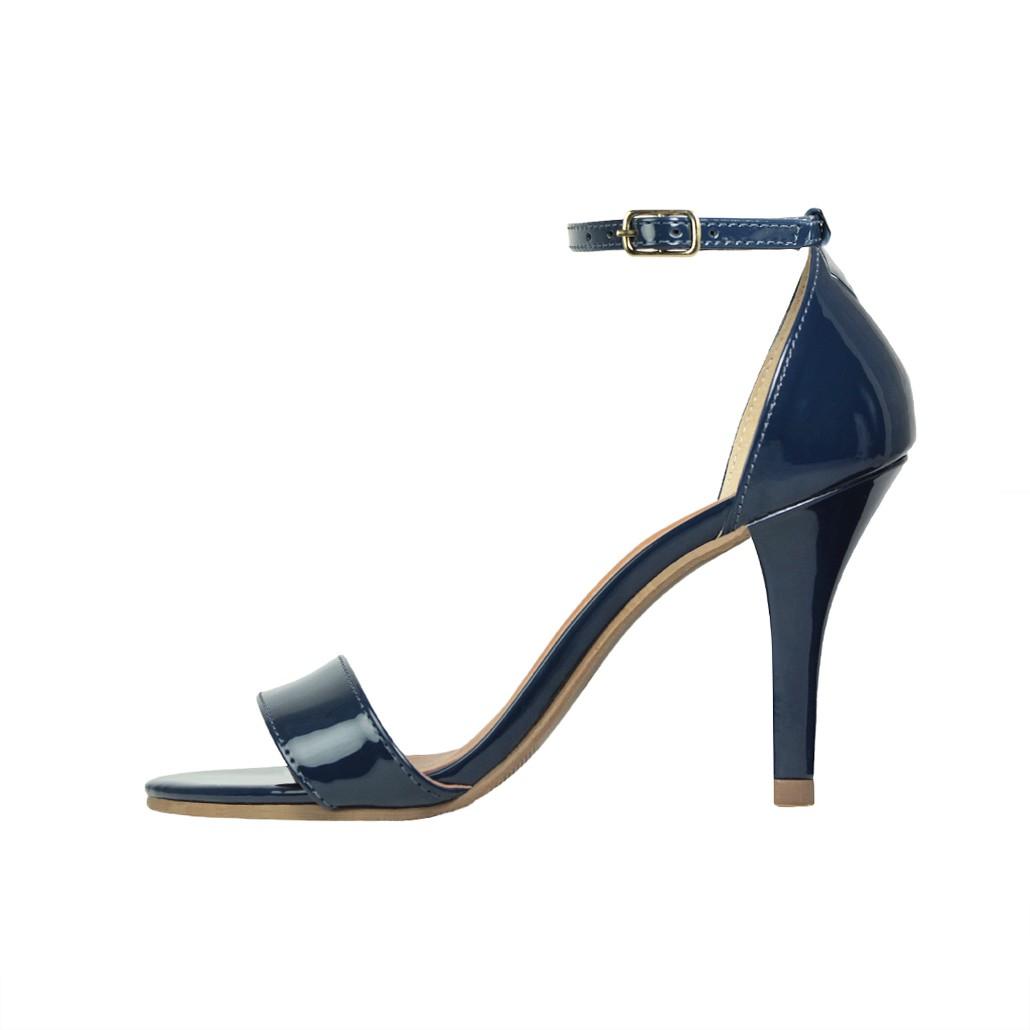 Sandália Salto Alto Fino Luiza Sobreira Verniz Azul Marinho Mod. 1051