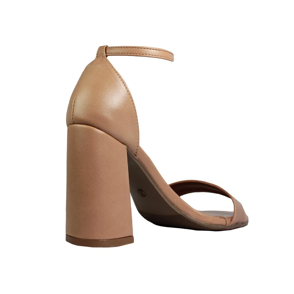 Sandália Salto Alto Grosso Luiza Sobreira Couro Nude Mod. 2063