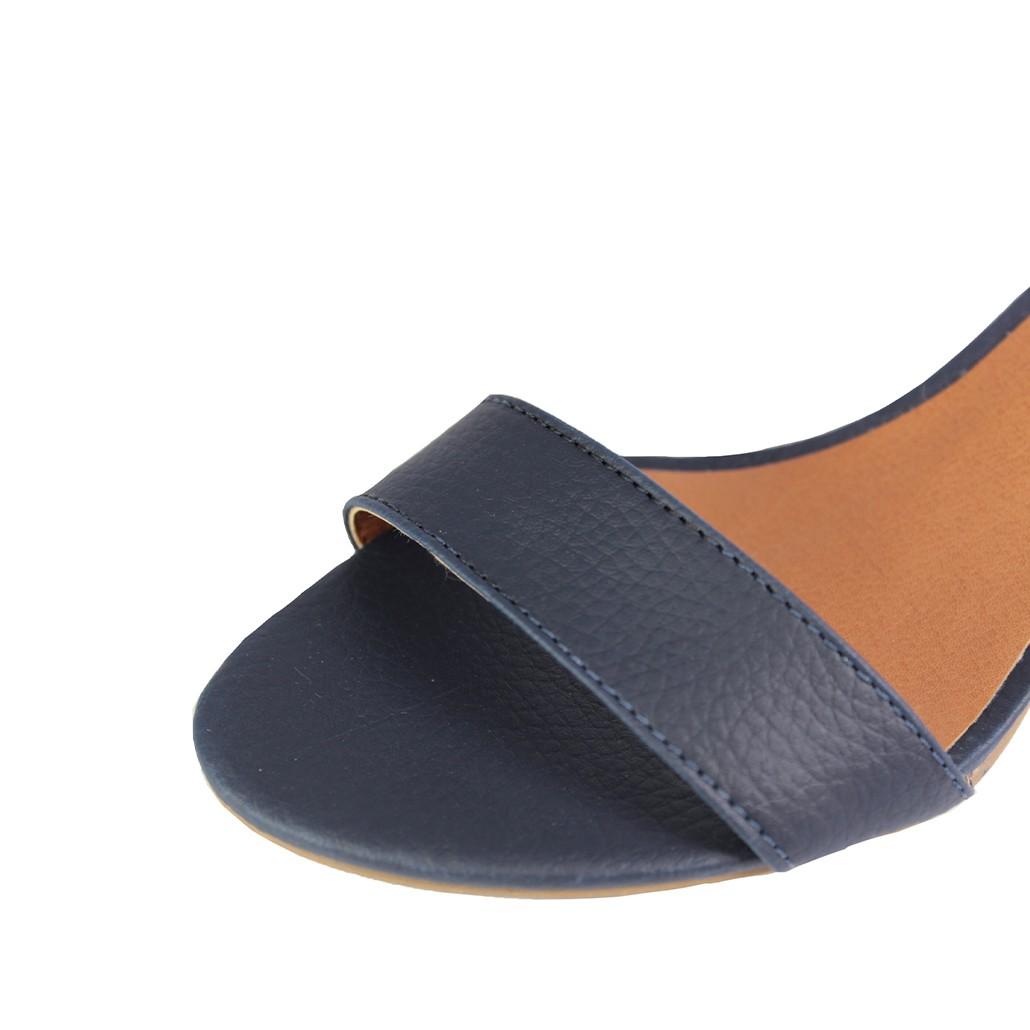 Sandália Salto Baixo Fino Luiza Sobreira Azul Marinho Mod. 2018