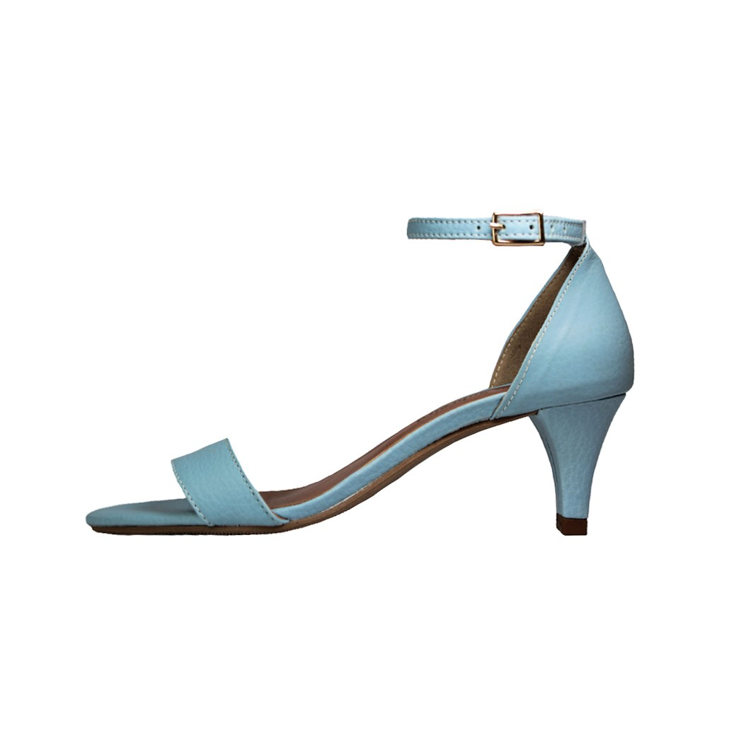 Sandália Salto Baixo Fino Luiza Sobreira Couro Azul Mod.2024