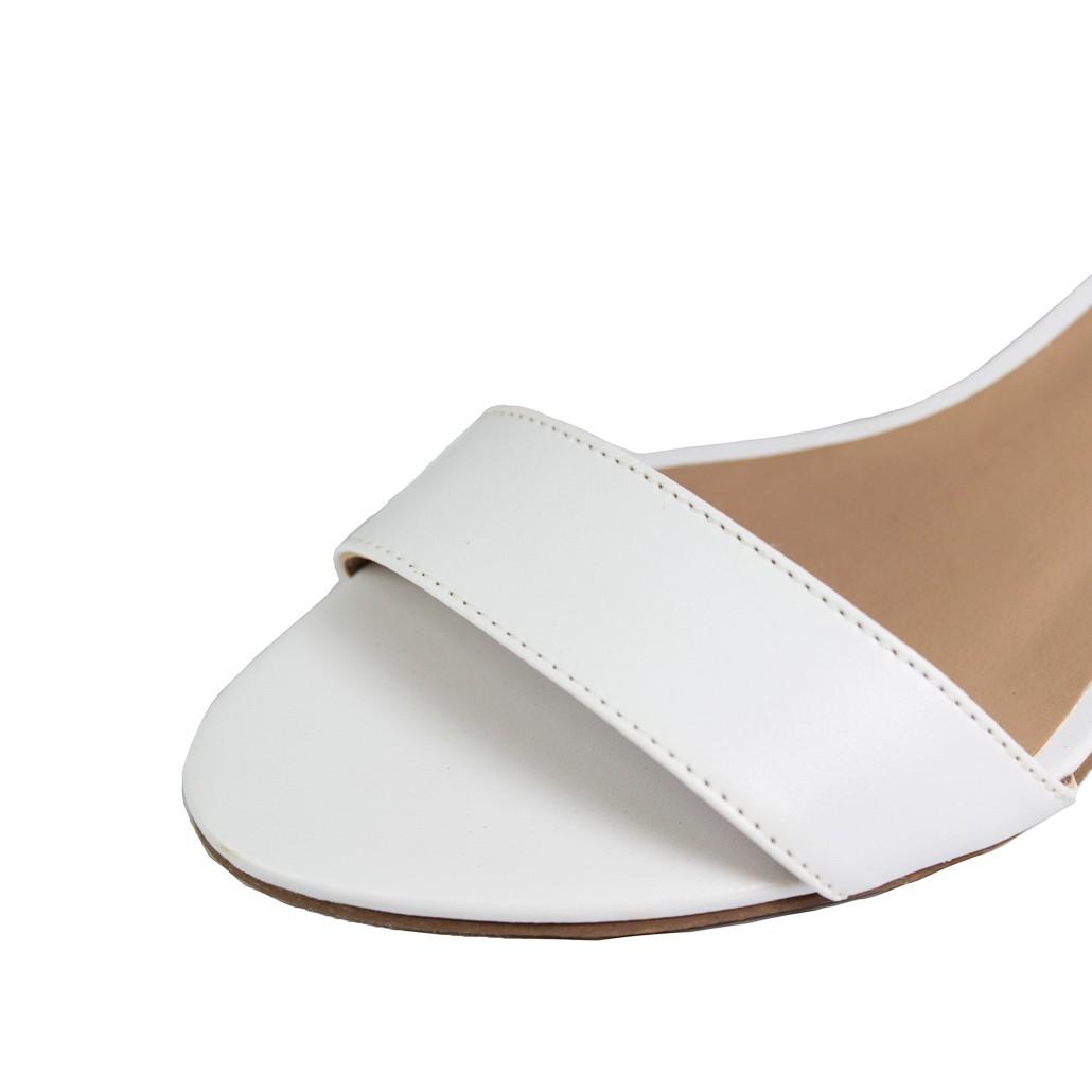 Sandália Salto Baixo Fino Luiza Sobreira Couro Branco Mod. 2019