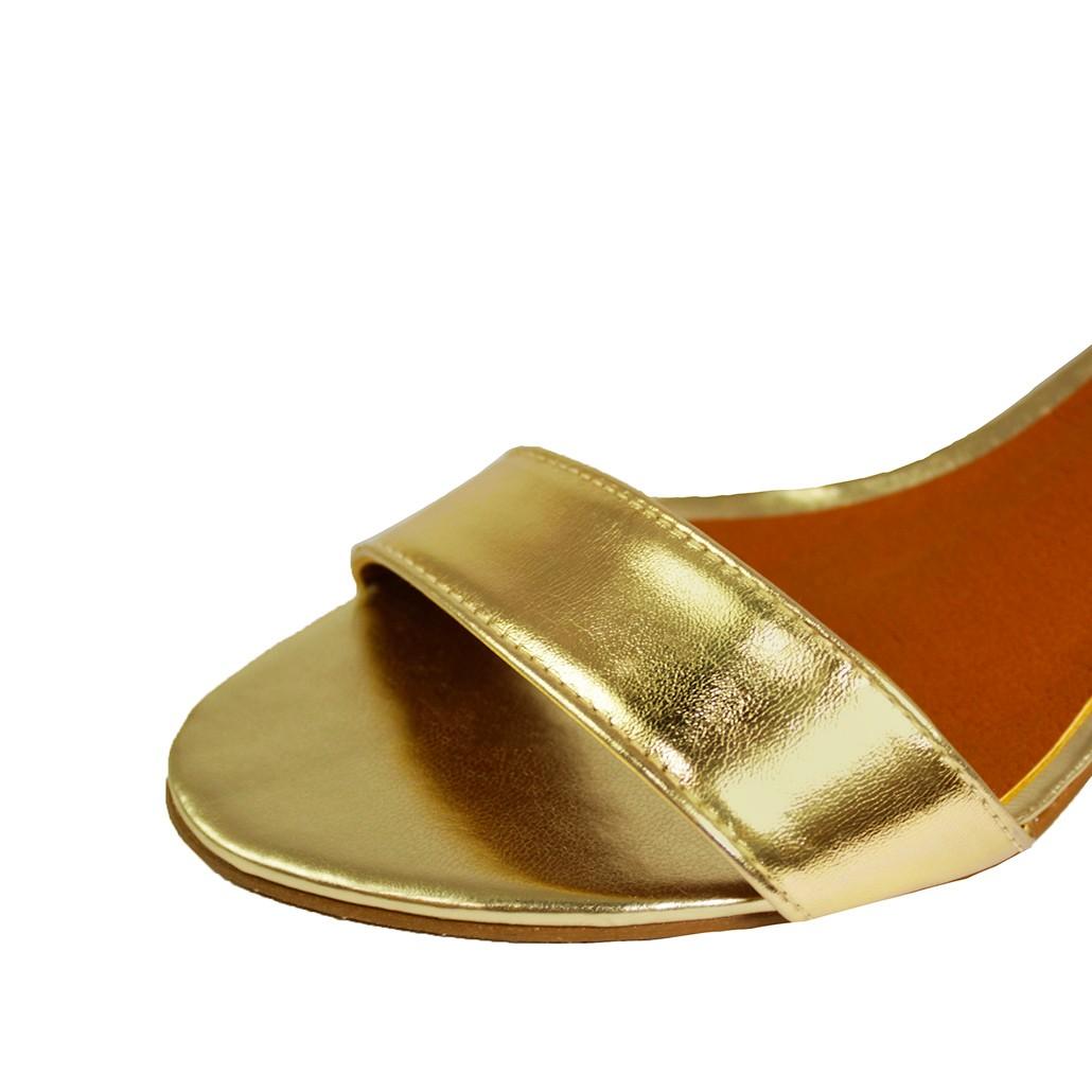 Sandália Salto Baixo Fino Luiza Sobreira Ouro Mod. 2020