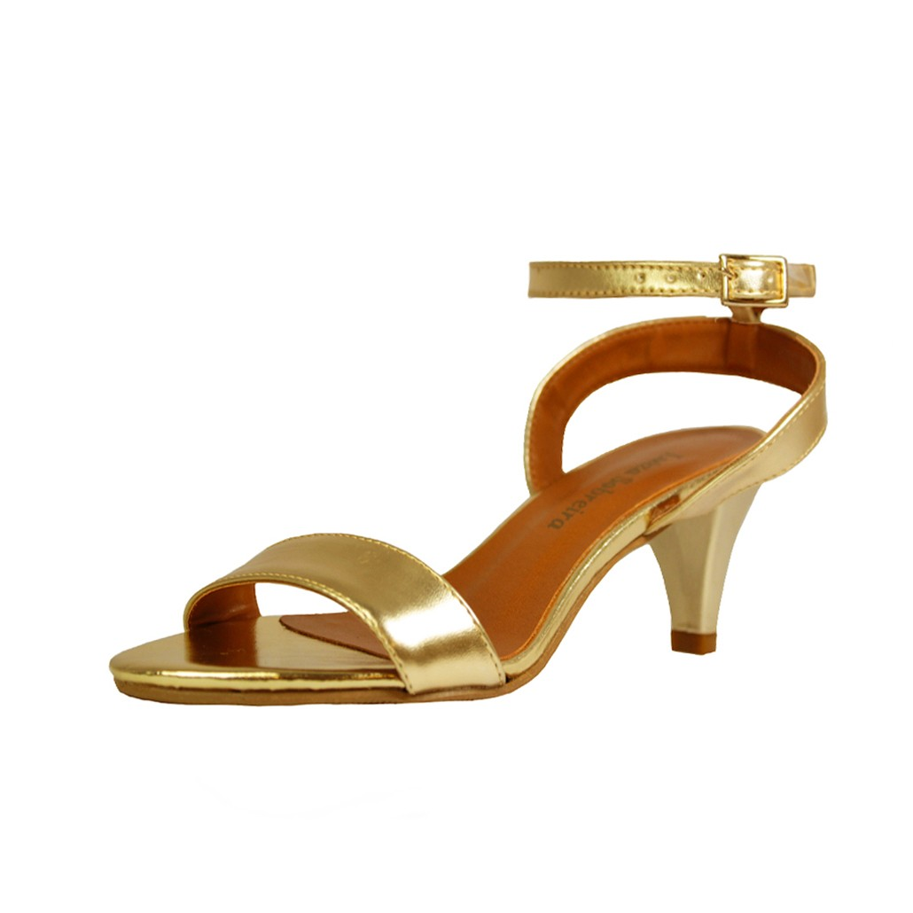 Sandália Salto Baixo Fino Luiza Sobreira Couro Ouro Mod. 2013
