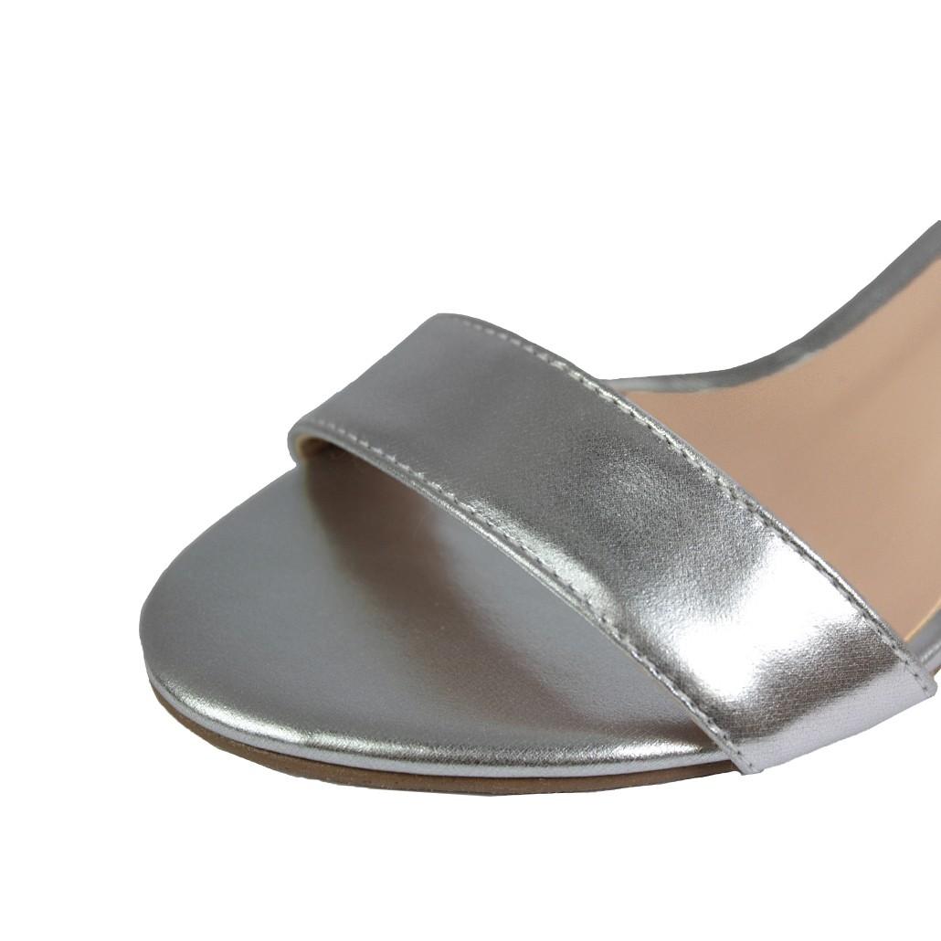 Sandália Salto Baixo Fino Luiza Sobreira Prata Mod. 2014