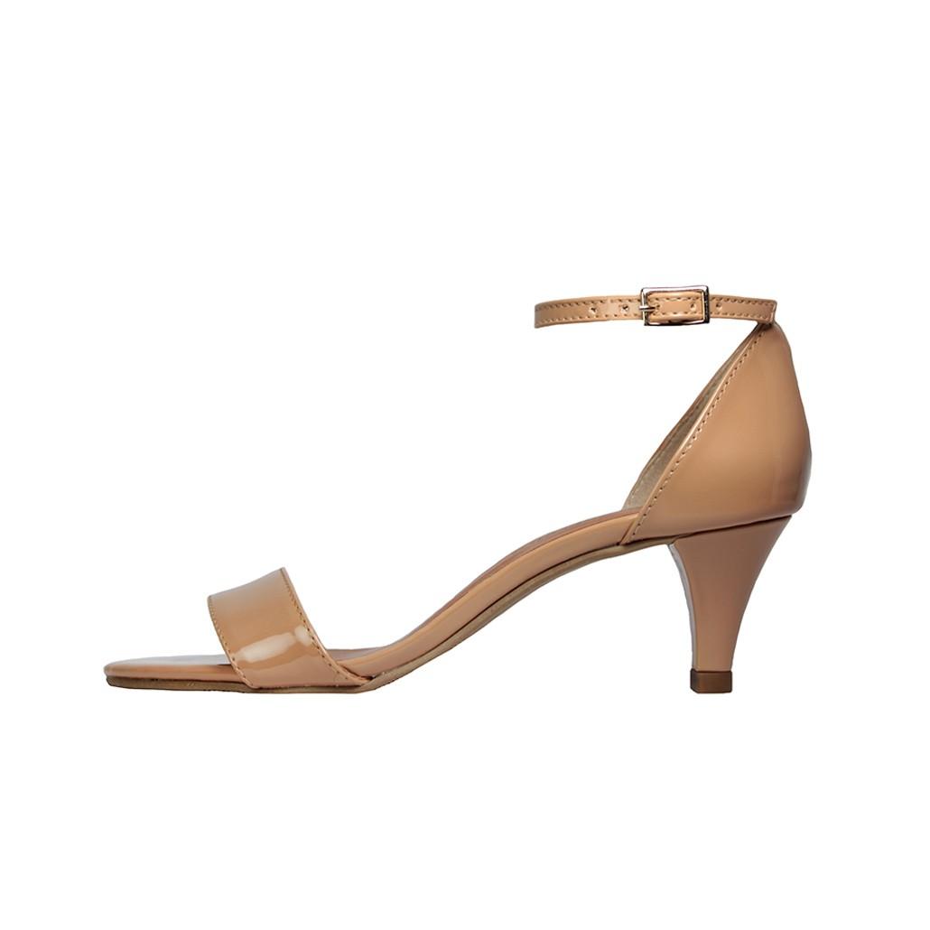 Sandália Salto Baixo Fino Luiza Sobreira Verniz Nude Mod. 4068