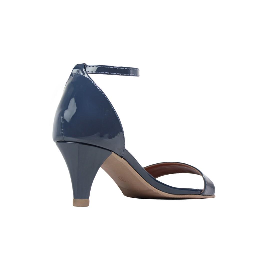 Sandália Salto Baixo Fino Luiza Sobreira Verniz Azul Marinho Mod. 2052