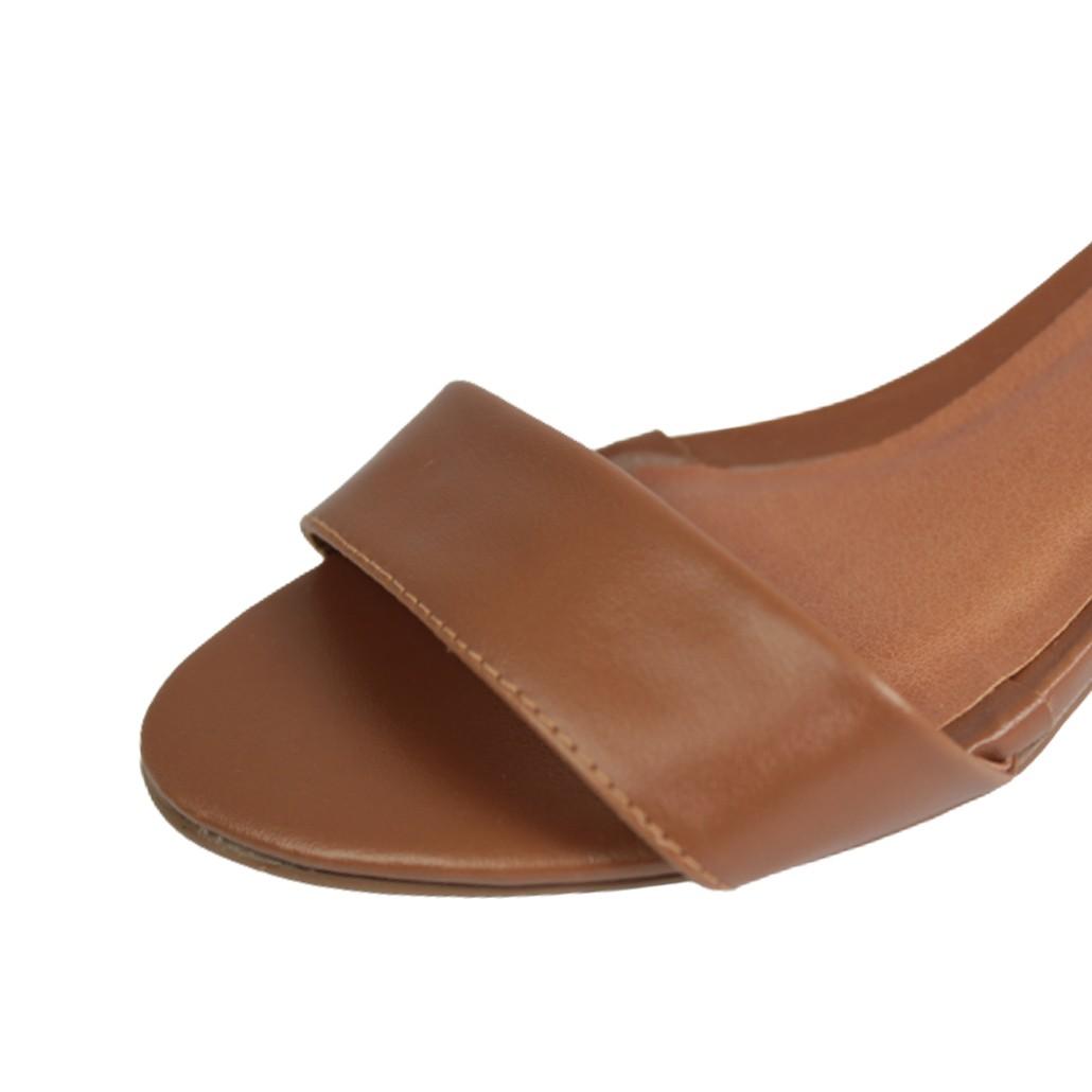 Sandália Salto Baixo Grosso Luiza Sobreira Couro Caramelo Mod. 40008