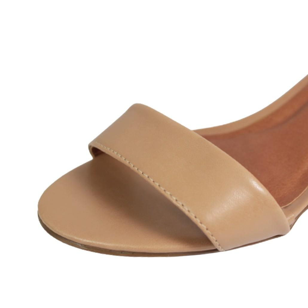 Sandália Salto Baixo Grosso Luiza Sobreira Couro Nude Mod. 2217