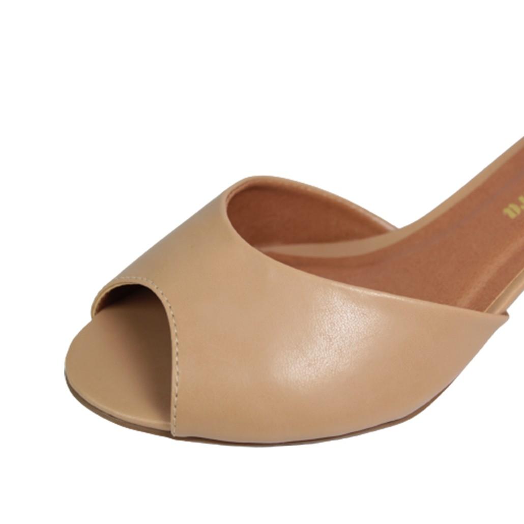 Sandália Salto Baixo Grosso Luiza Sobreira Couro Nude Mod. 4013