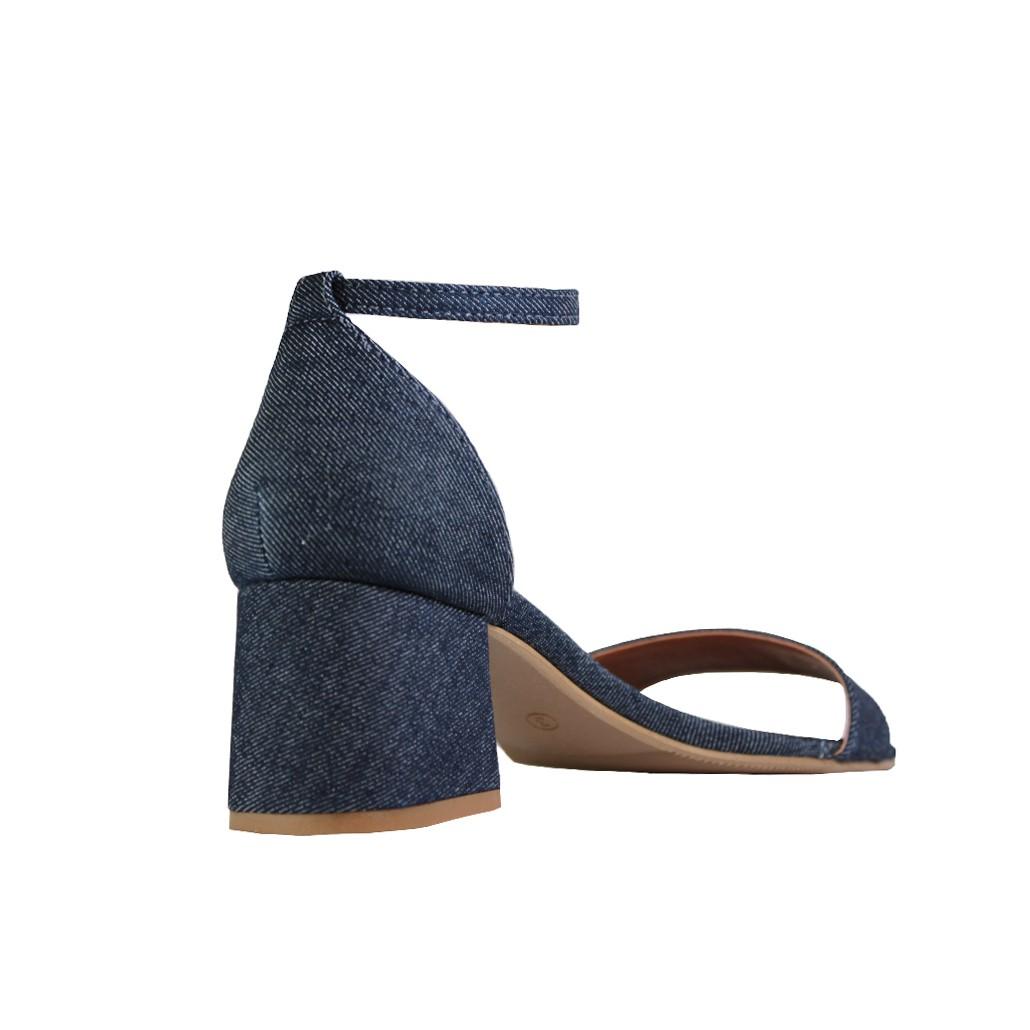 Sandália Salto Baixo Grosso Luiza Sobreira Jeans Escuro Mod. 4076