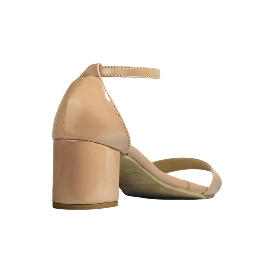 Sandália Salto Baixo Grosso Luiza Sobreira Verniz Nude Mod. 2204