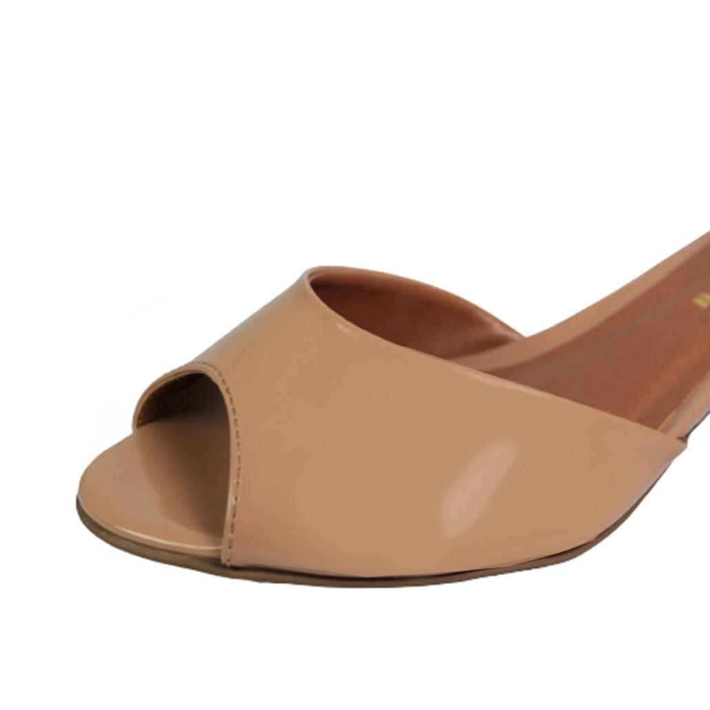 Sandália Salto Baixo Grosso Luiza Sobreira Verniz Nude Mod. 4012
