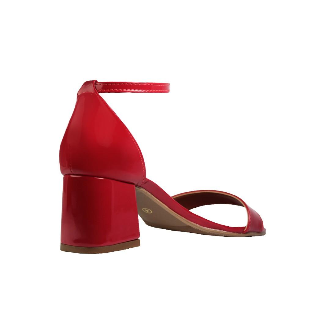 Sandália Salto Baixo Grosso Luiza Sobreira Verniz Vermelho Mod. 4075