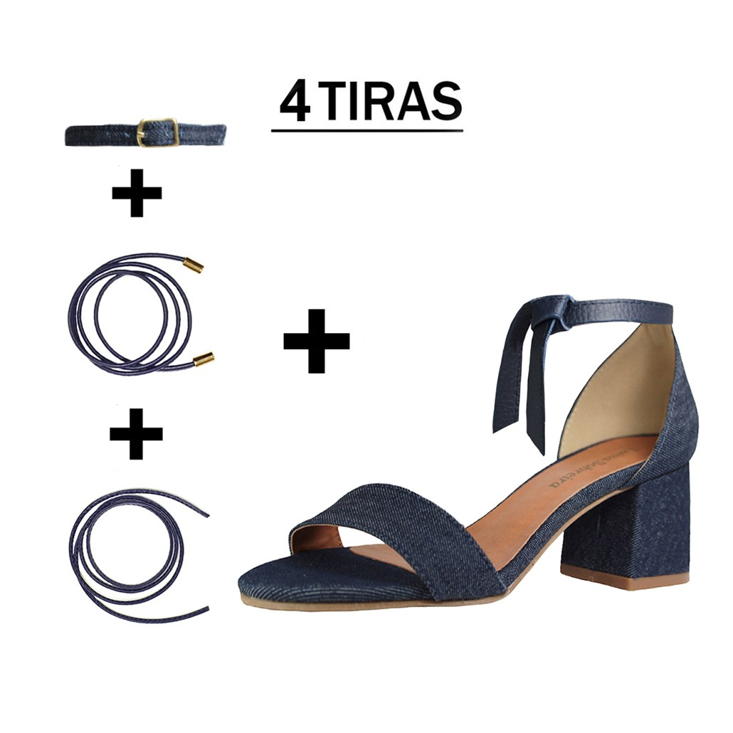 Sandália Troca Tira Salto Baixo Grosso Luiza Sobreira Jeans Escuro Mod. 4076-2