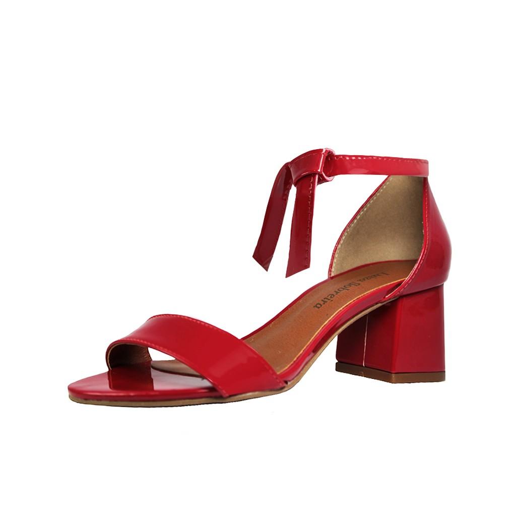 Sandália Troca Tira Salto Baixo Grosso Luiza Sobreira Verniz Vermelho Mod. 4075-2