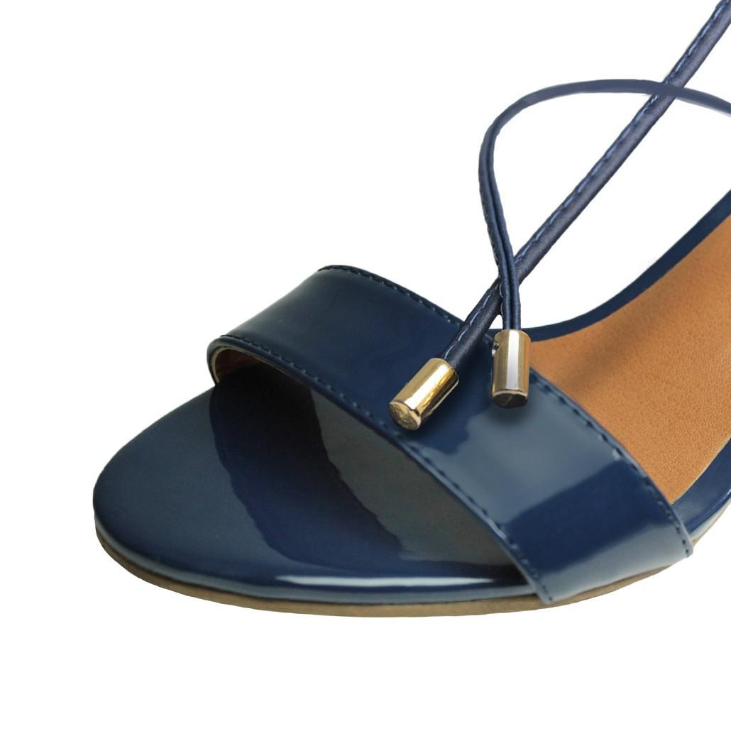 Sandália Troca Tira Salto Baixo Grosso Luiza Sobreira Verniz Azul Marinho Mod. 2015-2