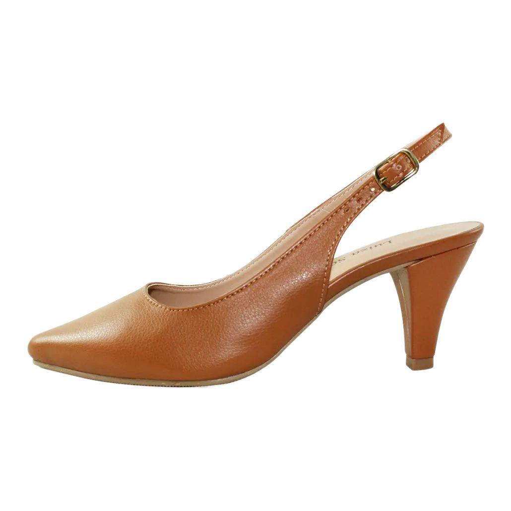 Scarpin Chanel Salto Baixo Fino Luiza Sobreira Caramelo Mod. 1066