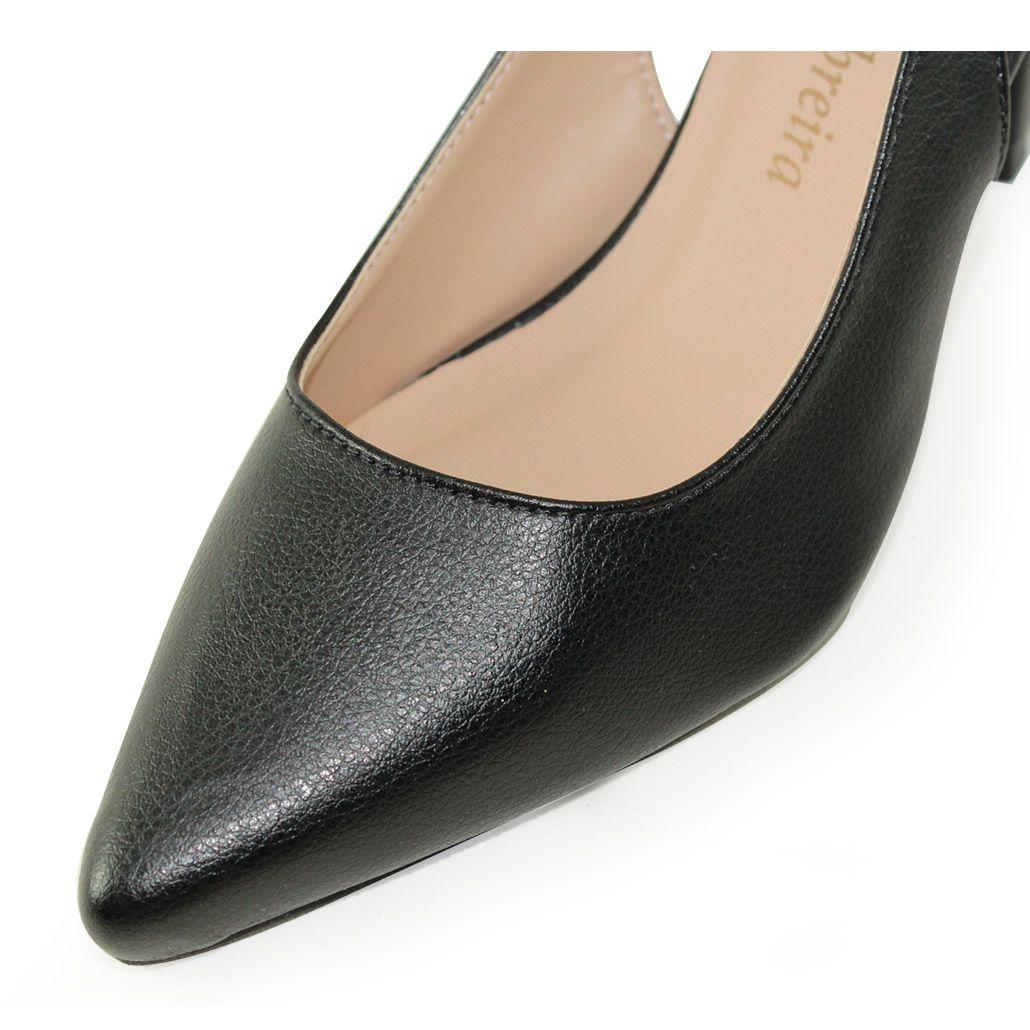 Scarpin Chanel Salto Baixo Fino Luiza Sobreira Couro Preto Mod. 1065